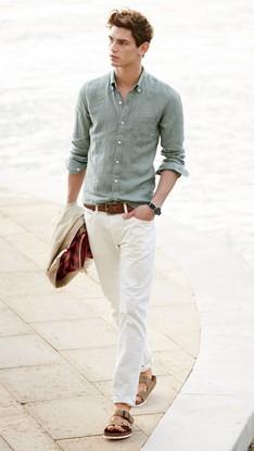 πρασινο λαδι πουκαμισο ανδρικο μοντερνο