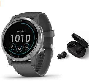 Garmin Vivoactive 4 Slim Waterproof GPS Fitness Smart Watch with Training Plans & Animated Exercises Dark Grey + BT Headset