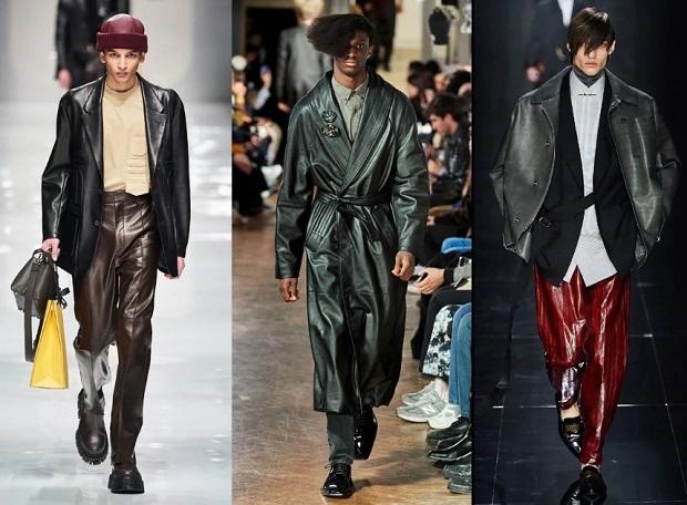 ανδρικά outfits δερμάτινα μπουφάν παντελόνια