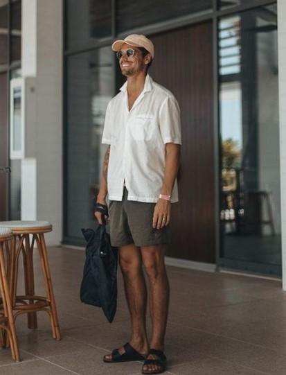 ανδρική βερμούδα πουκάμισο σανδάλια