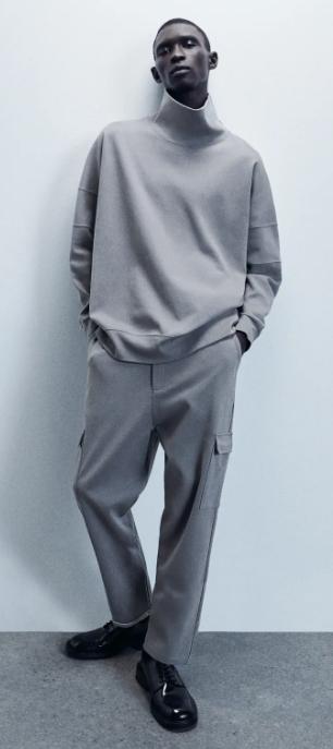 ανδρική ζιβάγκο μπλούζα με φαρδύ γιακά