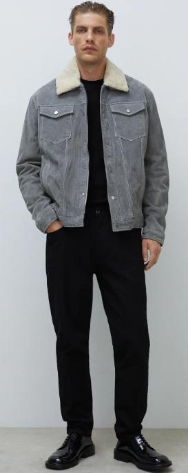 δερμάτινο μπουφάν με γούνινο γιακά