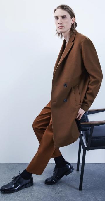 καφέ σταυρωτό ανδρικό παλτό