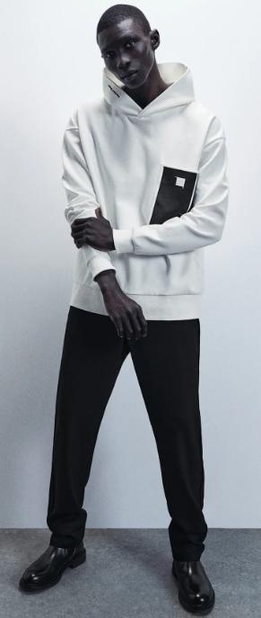 λευκή ανδρική φούτερ μπλούζα με κουκούλα
