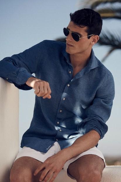 λινό μπλε πουκάμισο ρούχα αρέσουν γυναίκες