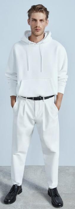 λευκό φαρδύ υφασμάτινο παντελόνι