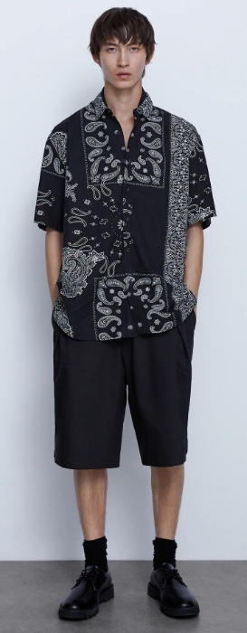 μαύρο αντρικό πουκάμισο με σχέδια
