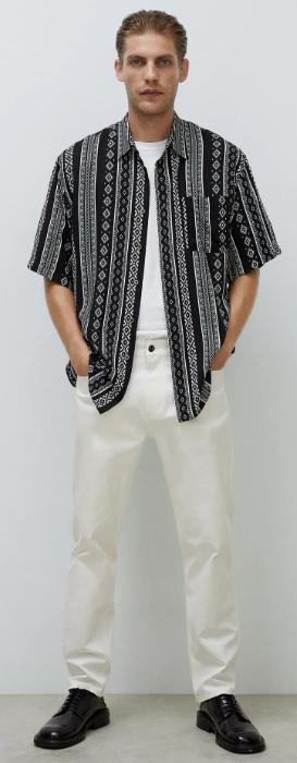 μαύρο πουκάμισο με κοντό μανίκι