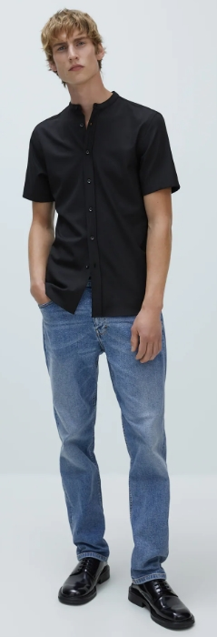 μαύρο μάο πουκάμισο
