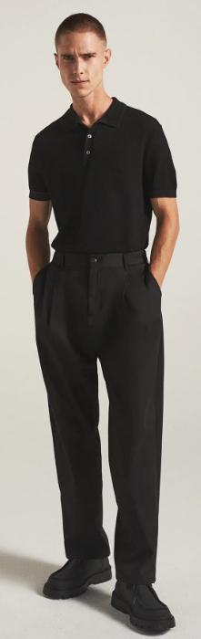 μαύρο υφασμάτινο αντρικό παντελόνι