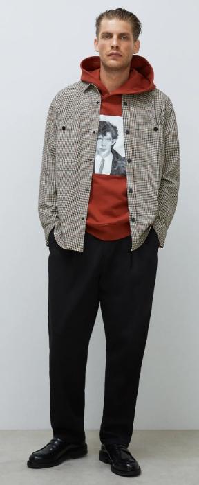 μπεζ oversized καρό πουκάμισο