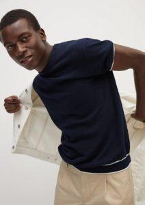 μπλε αντρική μπλούζα με λευκή ρίγα
