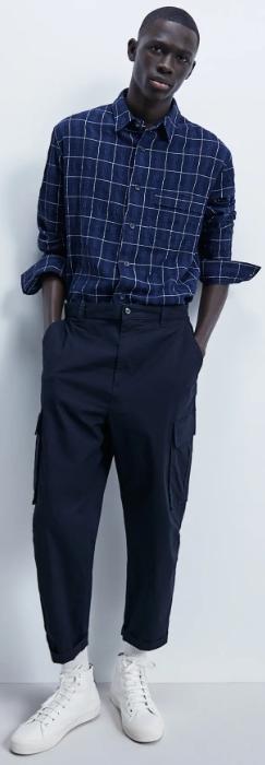 μπλε καρό ανδρικό πουκάμισο