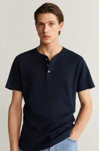μπλε μπλούζα με κουμπιά αντρική