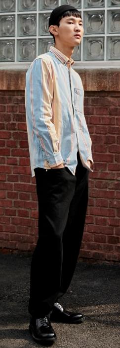 ριγέ jean ανδρικό πουκάμισο