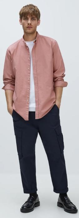 ροζ ανδρικό oxford πουκάμισο