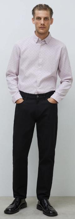 ροζ πουά μακρυμάνικο πουκάμισο