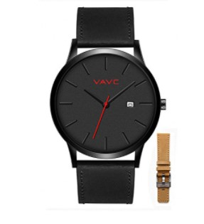 VAVC Simple Leather Band Watch