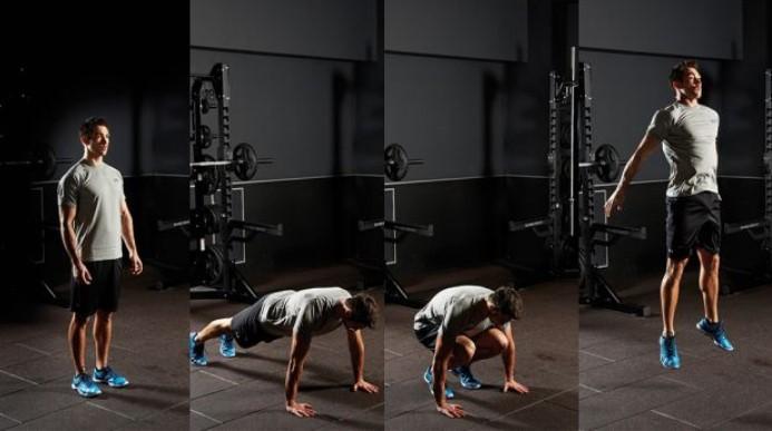 Ασκήσεις για πόδια και για όλο τον κορμό: burpees με κάθισμα-squat, κάμψη-pushup, άλμα-jump