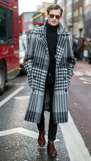 γκρι καρό παλτό μαύρα ρούχα μοντέρνα ρούχα