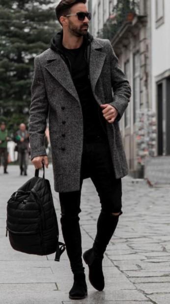 γκρι παλτό κουμπιά μαύρα ρούχα ανδρικά παλτό χειμώνα