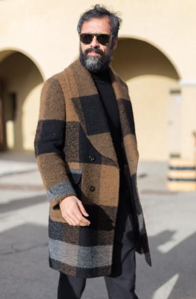 καρό παλτό καφέ γκρι