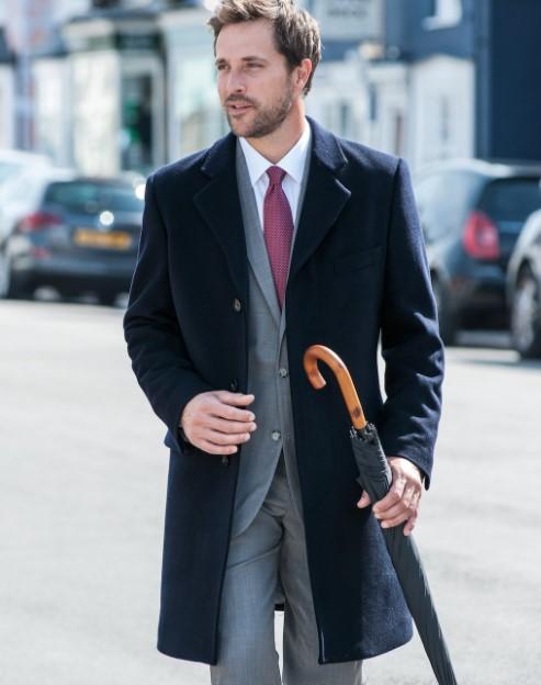 κλασικό παλτό μαύρο κοστούμι γκρι