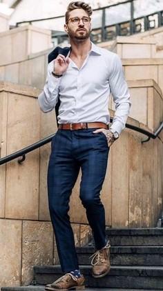 λευκο πουκαμισο μπλε παντελονι