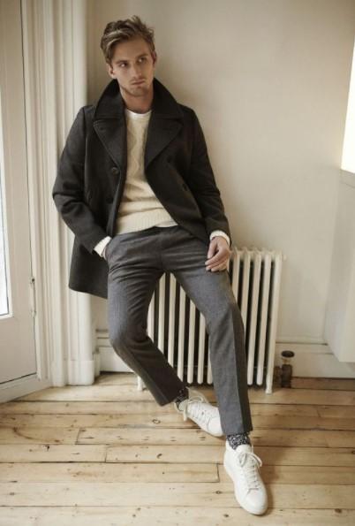 μάλλινο γκρι παντελόνι μαύρο παλτό
