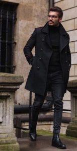 μαύρο παλτό μαύρα μποτάκια χειμωνιάτικα παπούτσια