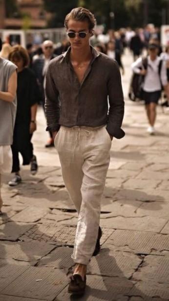 μπεζ λινό παντελόνι καφέ πουκάμισο παντελόνια άντρας πρέπει έχει