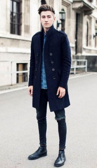 μπλε παλτό κλασικό ανδρικά παλτό