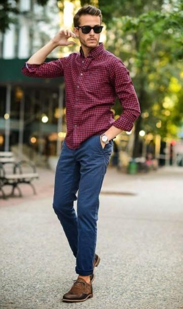 μπλε παντελόνι καρό πουκάμισο στιλιστικά tips δείχνεις αδύνατος