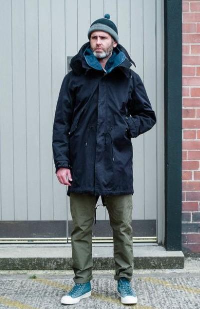 μπλε παρκά χακί παντελόνι ανδρικά παλτό