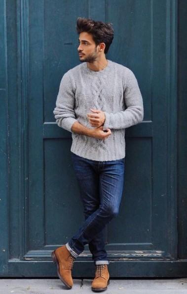 μπλε τζιν καφέ μποτάκι γκρι πουλόβερ