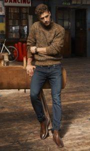 πουλόβερ τζιν καφέ chelsea boots χειμωνιάτικα παπούτσια