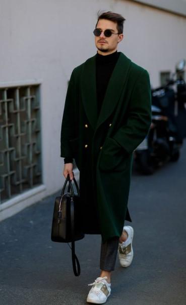 πράσινο μακρύ ανδρικά παλτό χειμώνα