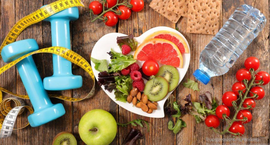 Υγιεινός τρόπος ζωής, γυμναστική, διατροφή, φρούτα, λαχανικά