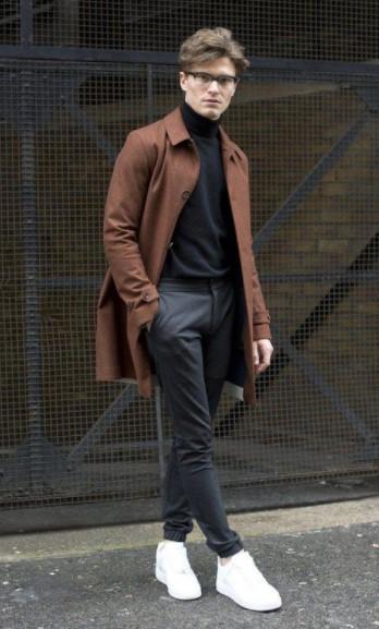 ζιβάγκο μπλούζα γκρι παντελόνι καφέ παλτό