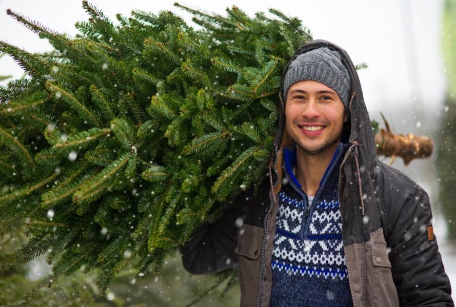 ανδρας αγοραζει δεντρο χριστουγεννιατικο