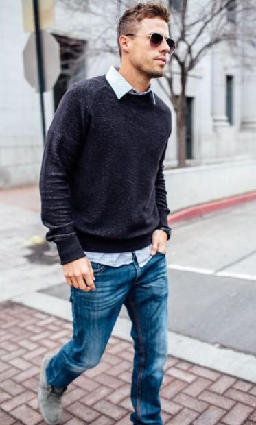 άντρας τζιν γκρι πουλόβερ πουκάμισο
