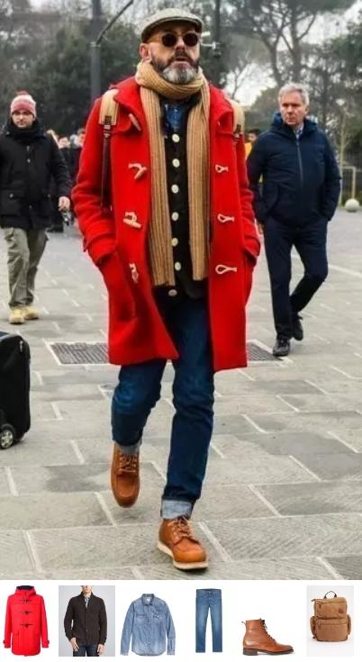 κόκκινο ανδρικό παλτό ντύσιμο