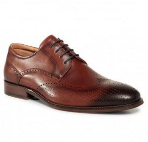 παπούτσια δερμάτινα καφέ μαύρη μύτη