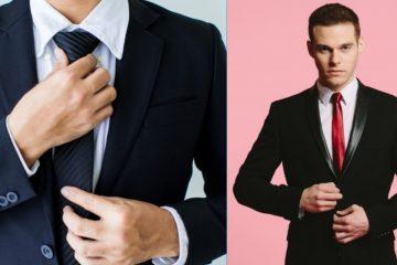 Άνδρας φοράει το απαραίτητο αξεσουάρ: σκούρη μπλε γραβάτα ή κόκκινη με μαύρο σμόκιν και άσπρο πουκάμισο