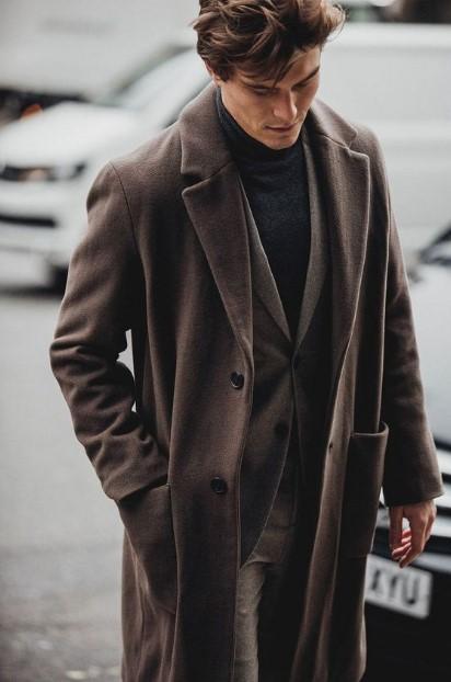 καφέ ανδρικό παλτό