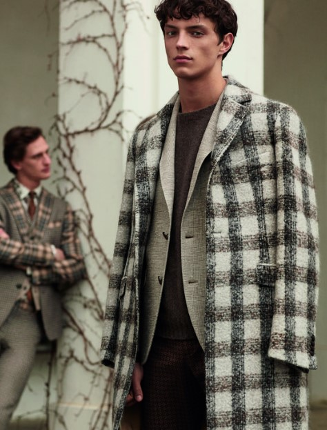 καρό ανδρικό μακρύ παλτό