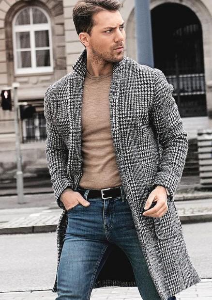 καρό ανδρικό παλτό