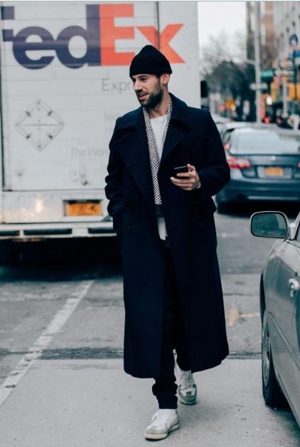 μακρύ ανδρικό παλτό μαύρο