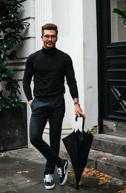 μαύρο ανδρικό outfit