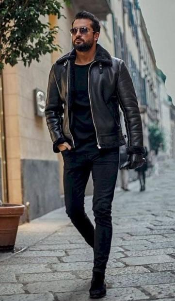 ντύσιμο με δερμάτινο jacket
